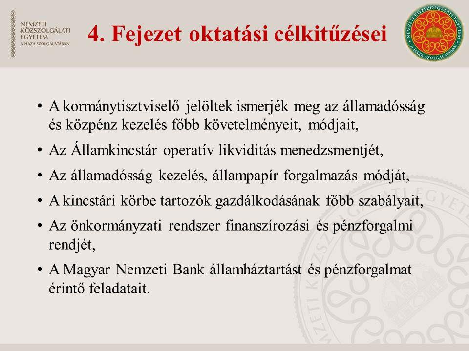 4. Fejezet oktatási célkitűzései A kormánytisztviselő jelöltek ismerjék meg az államadósság és közpénz kezelés főbb követelményeit, módjait, Az Államk