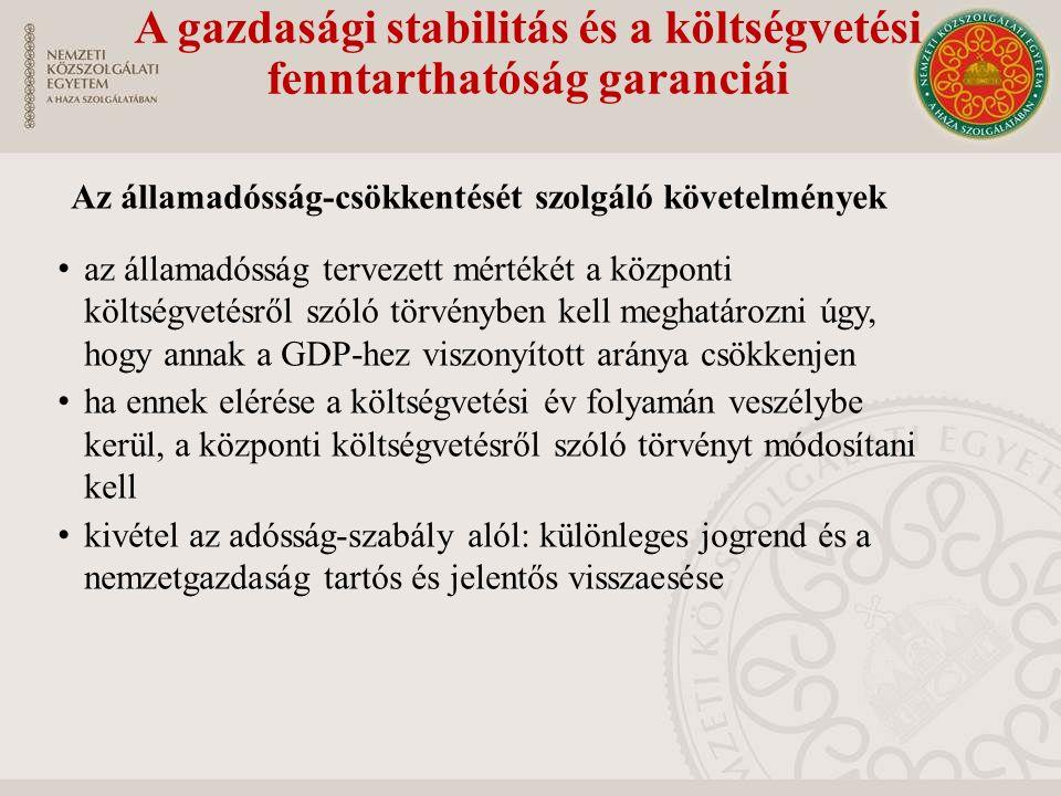 A gazdasági stabilitás és a költségvetési fenntarthatóság garanciái Az államadósság-csökkentését szolgáló követelmények az államadósság tervezett mért