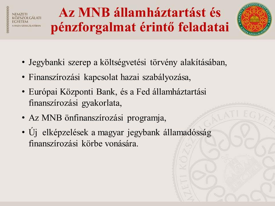 Az MNB államháztartást és pénzforgalmat érintő feladatai Jegybanki szerep a költségvetési törvény alakításában, Finanszírozási kapcsolat hazai szabály
