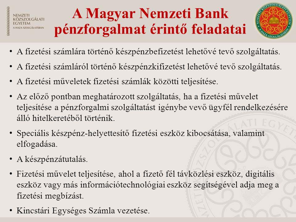 A Magyar Nemzeti Bank pénzforgalmat érintő feladatai A fizetési számlára történő készpénzbefizetést lehetővé tevő szolgáltatás. A fizetési számláról t