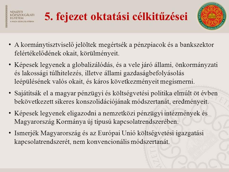 5. fejezet oktatási célkitűzései A kormánytisztviselő jelöltek megértsék a pénzpiacok és a bankszektor felértékelődének okait, körülményeit. Képesek l