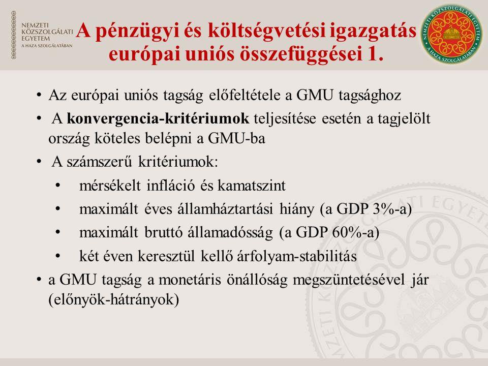 A pénzügyi és költségvetési igazgatás európai uniós összefüggései 1. Az európai uniós tagság előfeltétele a GMU tagsághoz A konvergencia-kritériumok t