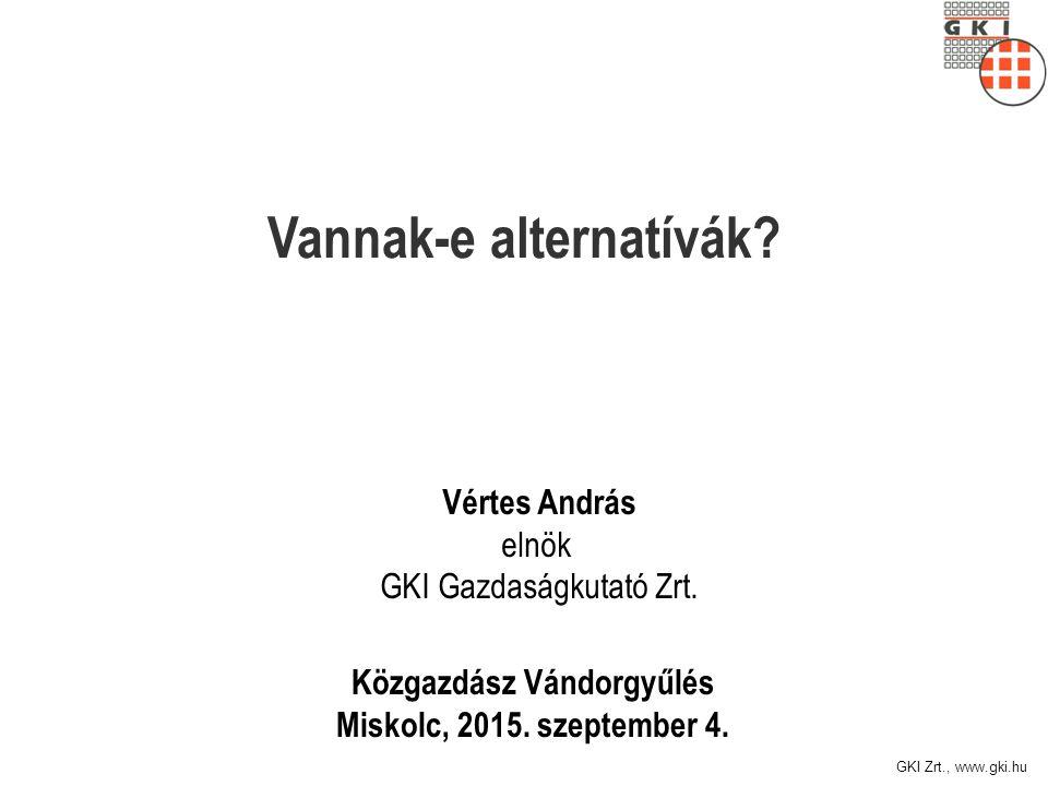 GKI Zrt., www.gki.hu Vannak-e alternatívák. Közgazdász Vándorgyűlés Miskolc, 2015.