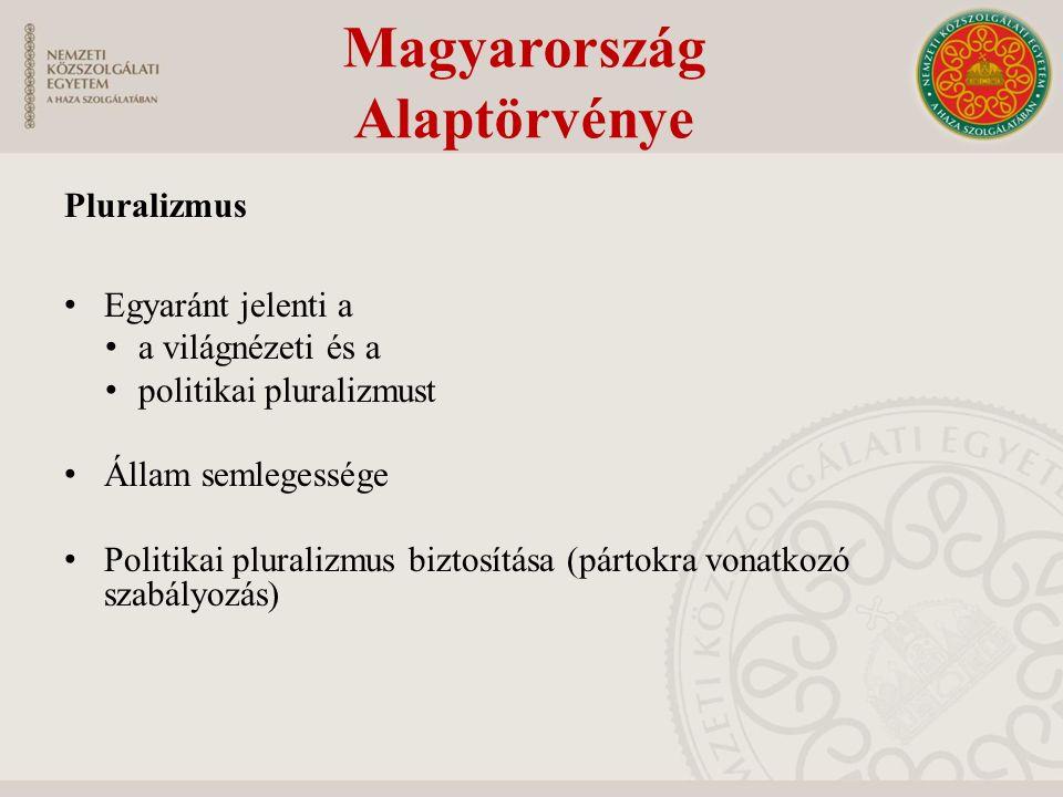 Pluralizmus Egyaránt jelenti a a világnézeti és a politikai pluralizmust Állam semlegessége Politikai pluralizmus biztosítása (pártokra vonatkozó szab