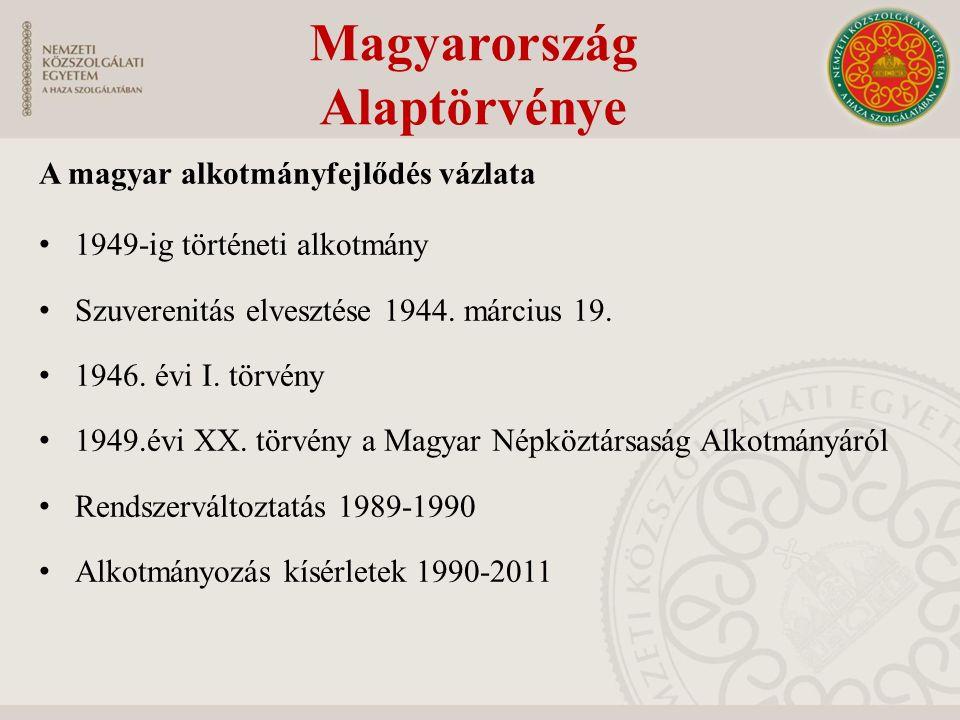 A magyar alkotmányfejlődés vázlata 1949-ig történeti alkotmány Szuverenitás elvesztése 1944. március 19. 1946. évi I. törvény 1949.évi XX. törvény a M