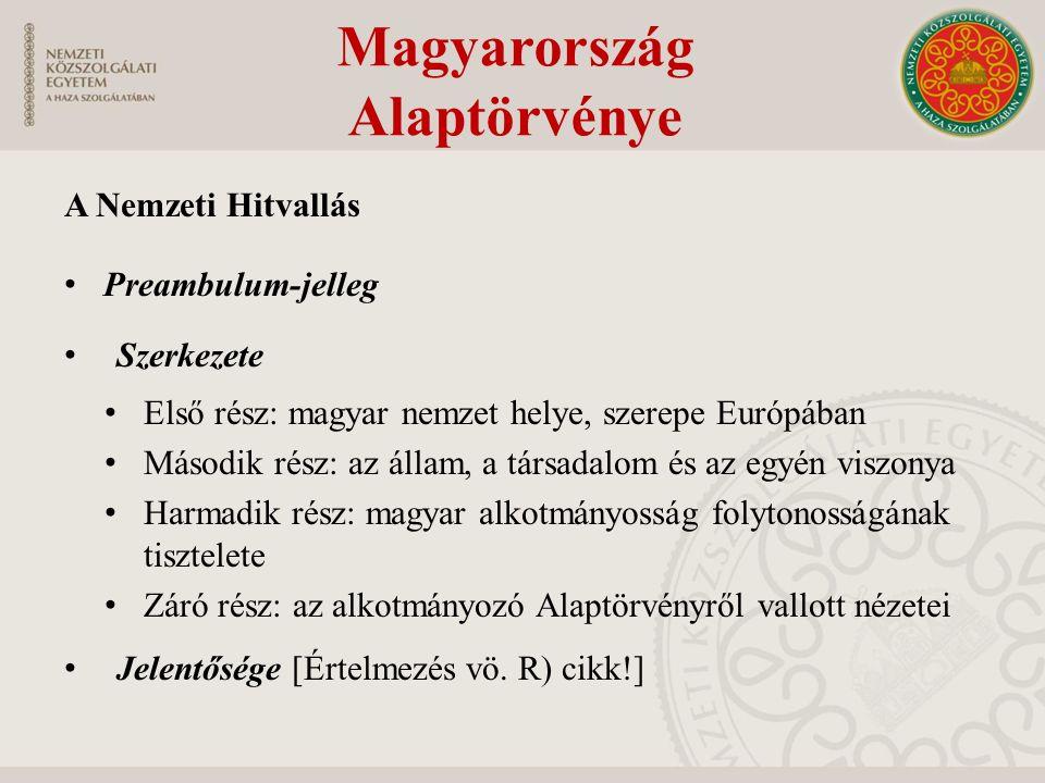 A Nemzeti Hitvallás Preambulum-jelleg Szerkezete Első rész: magyar nemzet helye, szerepe Európában Második rész: az állam, a társadalom és az egyén vi