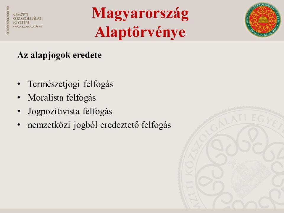 Az alapjogok eredete Természetjogi felfogás Moralista felfogás Jogpozitivista felfogás nemzetközi jogból eredeztető felfogás Magyarország Alaptörvénye