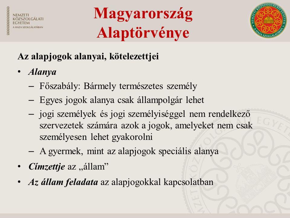 Az alapjogok alanyai, kötelezettjei Alanya – Főszabály: Bármely természetes személy – Egyes jogok alanya csak állampolgár lehet – jogi személyek és jo