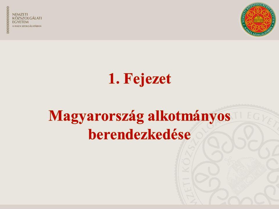 Magyarország Alaptörvénye Az ország alaptörvénye Formai szempontból: sajátos eljárási rendben alkotják a jogforrási rendszer csúcsán helyezkedik el Tartalmi szempontból: az állam legfontosabb szerveire vonatkozó legfontosabb szabályok, biztosítja az államszervezet legitimációját, az alkotmányosság elvei Politikai tartalom