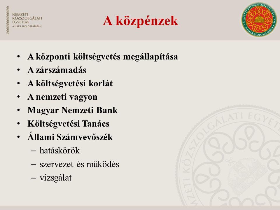A közpénzek A központi költségvetés megállapítása A zárszámadás A költségvetési korlát A nemzeti vagyon Magyar Nemzeti Bank Költségvetési Tanács Állam