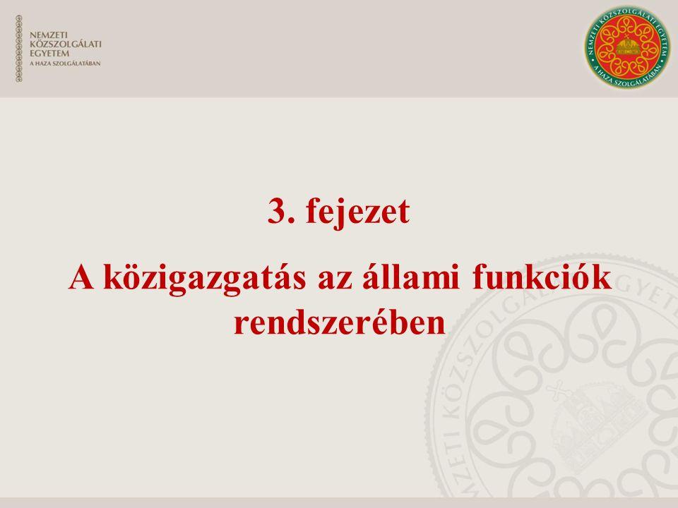 3. fejezet A közigazgatás az állami funkciók rendszerében
