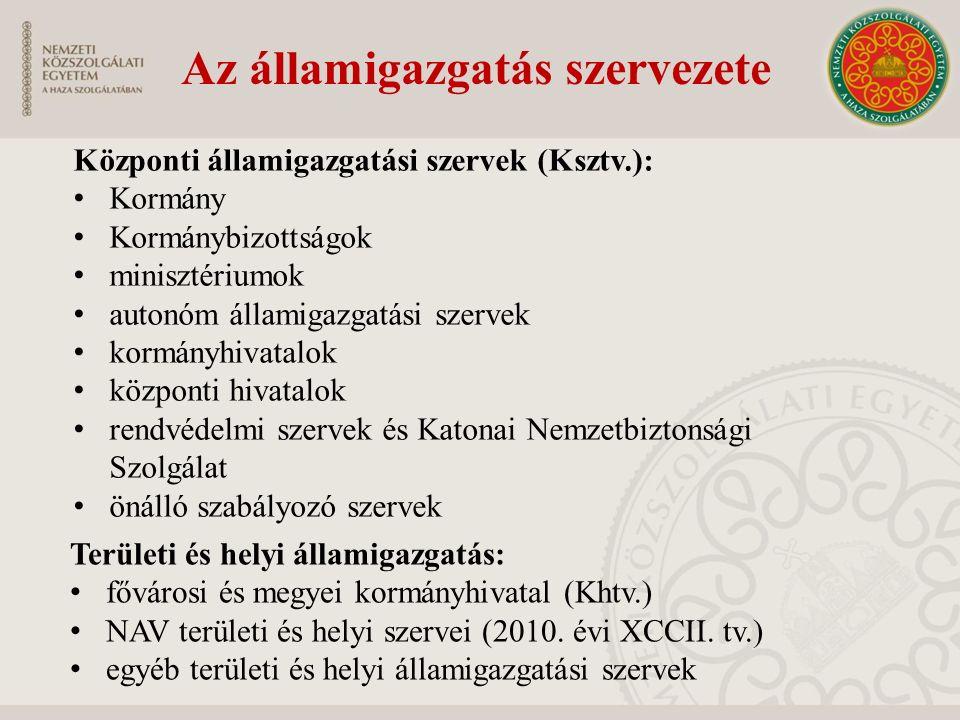 Az államigazgatás szervezete Központi államigazgatási szervek (Ksztv.): Kormány Kormánybizottságok minisztériumok autonóm államigazgatási szervek korm
