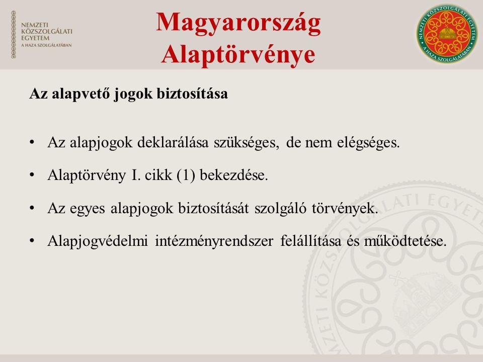 """Az alapjogok alanyai, kötelezettjei Alanya – Főszabály: Bármely természetes személy – Egyes jogok alanya csak állampolgár lehet – jogi személyek és jogi személyiséggel nem rendelkező szervezetek számára azok a jogok, amelyeket nem csak személyesen lehet gyakorolni – A gyermek, mint az alapjogok speciális alanya Címzettje az """"állam Az állam feladata az alapjogokkal kapcsolatban Magyarország Alaptörvénye"""