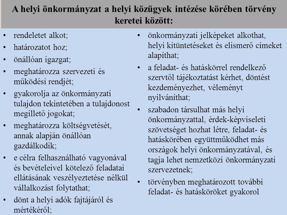 A helyi önkormányzat a helyi közügyek intézése körében törvény keretei között: rendeletet alkot; határozatot hoz; önállóan igazgat; meghatározza szerv