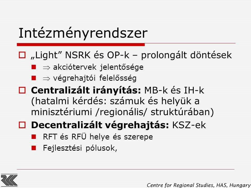 """Intézményrendszer  """"Light"""" NSRK és OP-k – prolongált döntések  akciótervek jelentősége  végrehajtói felelősség  Centralizált irányítás: MB-k és IH"""