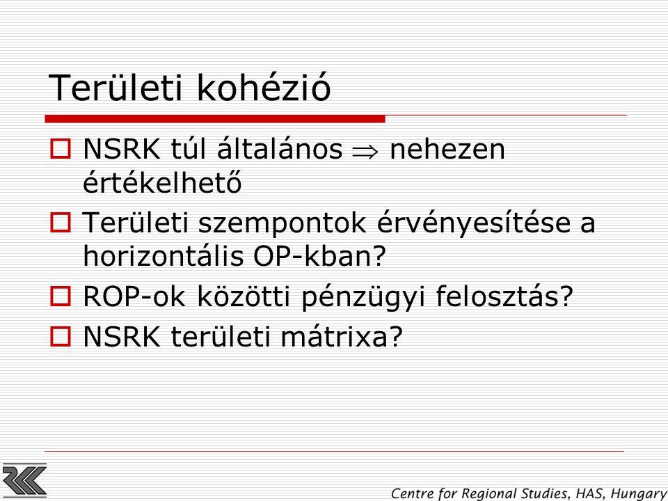 Területi kohézió  NSRK túl általános  nehezen értékelhető  Területi szempontok érvényesítése a horizontális OP-kban?  ROP-ok közötti pénzügyi felo
