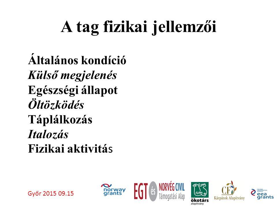 A tag fizikai jellemzői Győr 2015 09.15 Általános kondíció Külső megjelenés Egészségi állapot Öltözködés Táplálkozás Italozás Fizikai aktivitá s