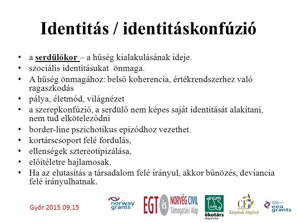 Identitás / identitáskonfúzió a serdülőkor – a hűség kialakulásának ideje.