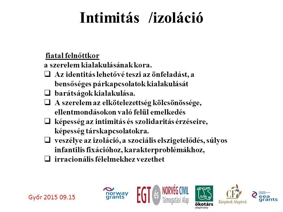 Intimitás /izoláció Győr 2015 09.15 fiatal felnőttkor a szerelem kialakulásának kora.
