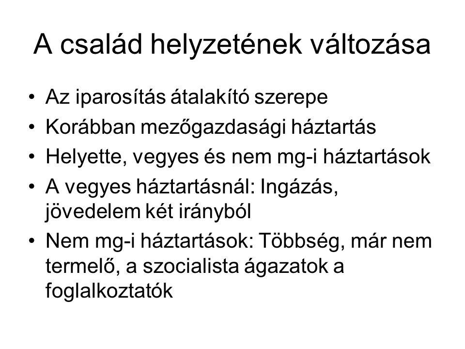 A háztartások változásai Forrás: A család átalakulásának néhány vonása Jugoszláviában – Demográfia 1987-es kiadvány, 338-340.