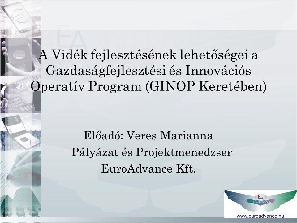 A Vidék fejlesztésének lehetőségei a Gazdaságfejlesztési és Innovációs Operatív Program (GINOP Keretében) Előadó: Veres Marianna Pályázat és Projektmenedzser EuroAdvance Kft.