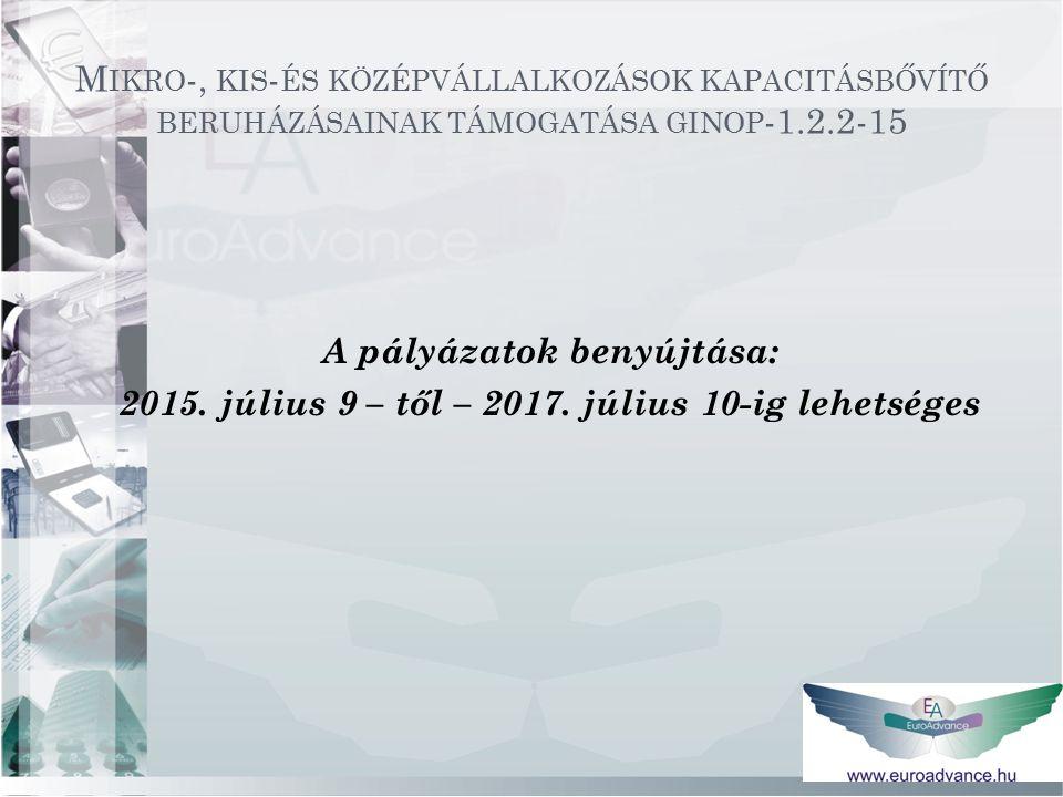 M IKRO -, KIS - ÉS KÖZÉPVÁLLALKOZÁSOK KAPACITÁSBŐVÍTŐ BERUHÁZÁSAINAK TÁMOGATÁSA GINOP -1.2.2-15 A pályázatok benyújtása: 2015.