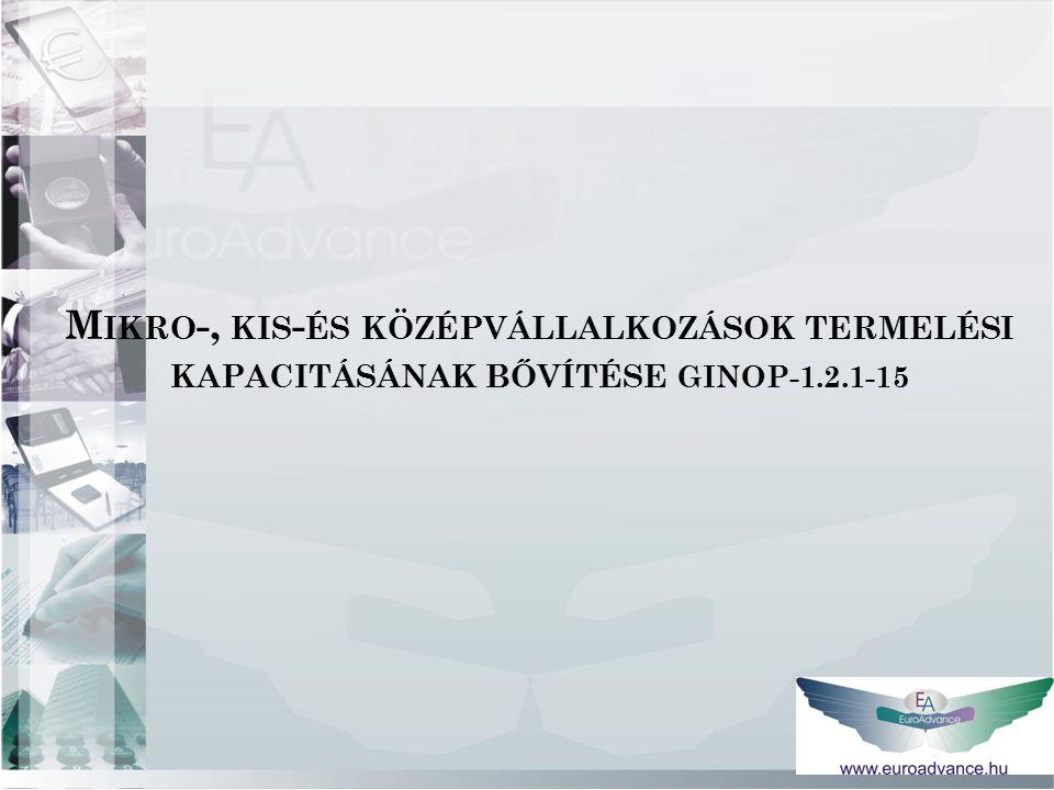 M IKRO -, KIS - ÉS KÖZÉPVÁLLALKOZÁSOK TERMELÉSI KAPACITÁSÁNAK BŐVÍTÉSE GINOP-1.2.1-15