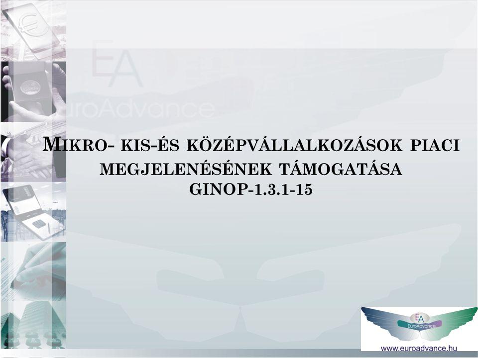 M IKRO - KIS - ÉS KÖZÉPVÁLLALKOZÁSOK PIACI MEGJELENÉSÉNEK TÁMOGATÁSA GINOP-1.3.1-15