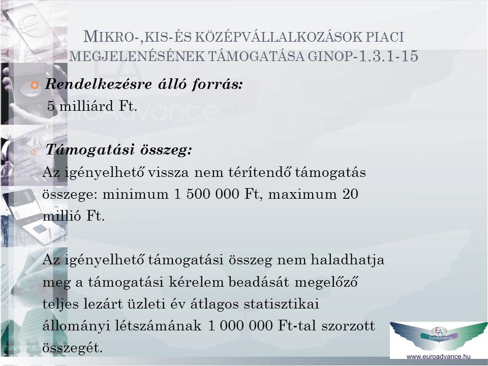 M IKRO -, KIS - ÉS KÖZÉPVÁLLALKOZÁSOK PIACI MEGJELENÉSÉNEK TÁMOGATÁSA GINOP -1.3.1-15 Rendelkezésre álló forrás: 5 milliárd Ft.