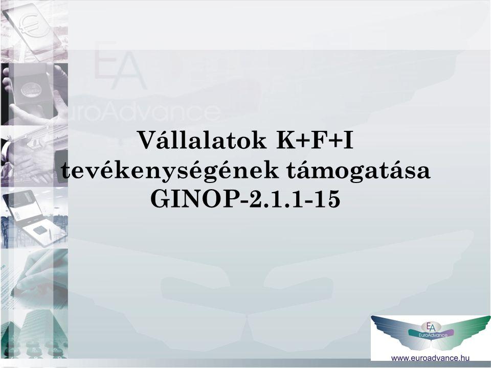Vállalatok K+F+I tevékenységének támogatása GINOP-2.1.1-15