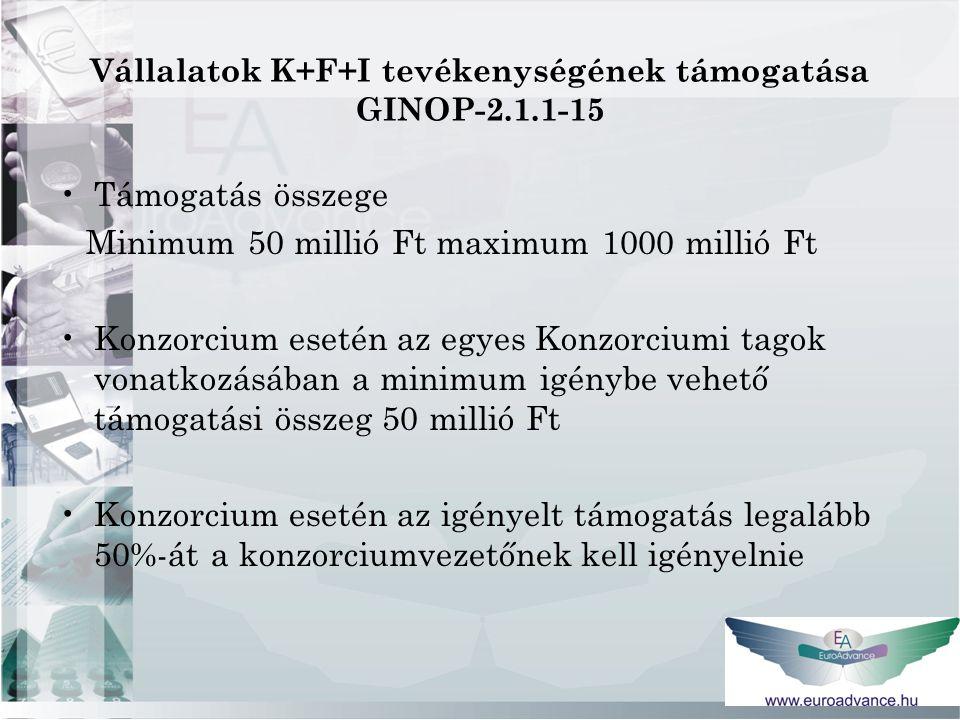 Vállalatok K+F+I tevékenységének támogatása GINOP-2.1.1-15 Támogatás összege Minimum 50 millió Ft maximum 1000 millió Ft Konzorcium esetén az egyes Konzorciumi tagok vonatkozásában a minimum igénybe vehető támogatási összeg 50 millió Ft Konzorcium esetén az igényelt támogatás legalább 50%-át a konzorciumvezetőnek kell igényelnie