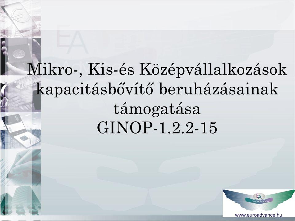 Mikro-, Kis-és Középvállalkozások kapacitásbővítő beruházásainak támogatása GINOP-1.2.2-15