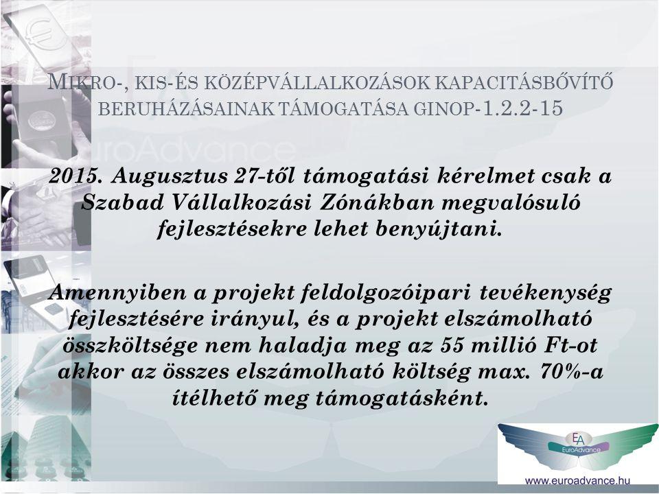2015. Augusztus 27-től támogatási kérelmet csak a Szabad Vállalkozási Zónákban megvalósuló fejlesztésekre lehet benyújtani. Amennyiben a projekt feldo