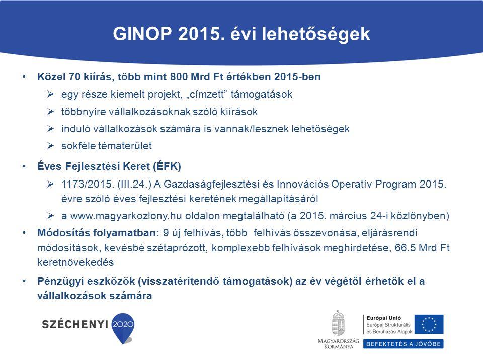 Mikro-, kis és középvállalkozások termelési kapacitásainak bővítése GINOP-1.2.1-15 Rendelkezésre álló keretösszeg: 65 Mrd Ft Pályázók köre: mikro-, kis- és középvállalkozások Beadási időszak: 2015.07.09.