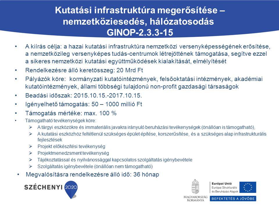 Újgenerációs NGA és felhordó hálózatok fejlesztése GINOP-3.4.1-15 (opcionálisan: GINOP-8.2.1 ) A kiírás célja: kevésbé fejlett régiókban az újgenerációs szélessávú (NGA) hozzáférési hálózattal le nem fedett helyek lefedése és a korábbi évek fejlesztéseit követően még optikai felhordó hálózattal el nem látott települések nagy sebességű hálózati infrastruktúrába történő bekötése, legalább 30 Mbps sávszélességet biztosító hálózati infrastruktúra kiépítése Rendelkezésre álló keretösszeg: 68 Mrd Ft + 10 Mrd Ft opcionálisan igénybe vehető beruházási hitel Pályázók köre: infokommunikációs ágazatban működő mikro-, kis- közép- és nagyvállalkozások Beadási időszak: 2015.09.30.-2017.09.30.