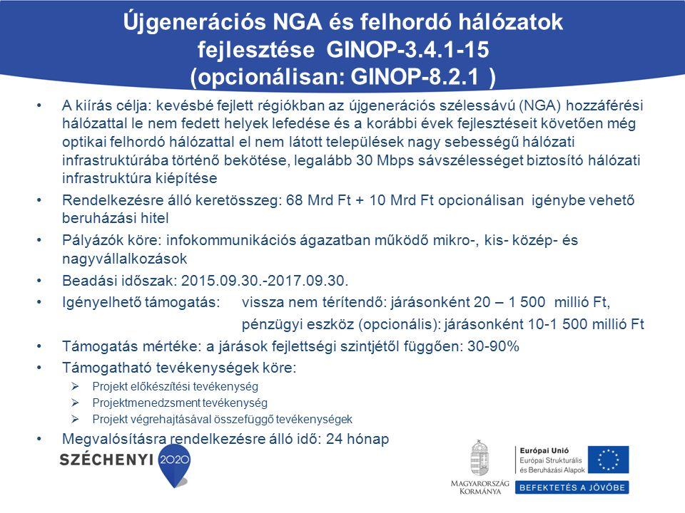 A jogszerű foglalkoztatást célzó szolgáltatásnyújtás támogatása GINOP-5.3.3-15 A kiírás célja: a jogszerű foglalkoztatás ösztönzése a munkavállalók és munkáltatók ismereteinek bővítésével, ingyenes tanácsadási szolgáltatásokkal, jogsegélyszolgálatokkal, illetve a munkáltatók, munkáltatói érdekképviseletek, a munkavállalói érdekképviseletek és az üzemi tanács közötti kollektív munkaügyi viták rendezésének segítése hatékony alternatív vitarendezési mechanizmusokkal Rendelkezésre álló keretösszeg: 3,5 Mrd Ft Pályázók köre: Nemzeti Gazdasági és Társadalmi Tanácsban képviselt munkavállalói és munkáltatói érdekképviseleti szervezetek Beadási időszak: 2015.10.01.-2015.10.31.