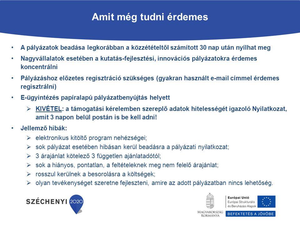2014 - 2020 - Széchenyi 2020 A felhívásokkal kapcsolatos közlemények elérhetősége: www.palyazat.gov.hu