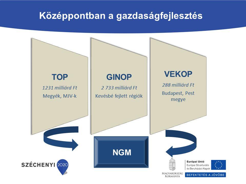Társadalmi Infrastruktúra OP (K+F+I felsőoktatási infrastruktúra fejlesztés) A vállalkozások (kiemelten a kkv-k) komplex fejlesztése 2007-2013 Regionális Operatív Program (üzleti infrastruktúra) Környezeti és Energiahatékonysági OP (energiahatékonyság) Társadalmi Megújulás OP (foglalkoztatás, versenyképes munkaerő) A széttagolt források helyett koncentrált gazdaságfejlesztés K+F és innováció a versenyképességért A modern üzleti környezet erősítése Pénzügyi eszközök Gazdaságfejlesztési Operatív Program Regionális Operatív Program (turizmus) Gazdaságfejlesztési és Innovációs Operatív Program 1.