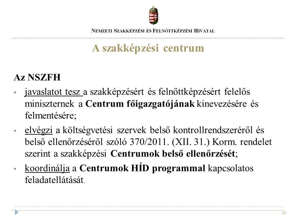 10 A szakképzési centrum Az NSZFH javaslatot tesz a szakképzésért és felnőttképzésért felelős miniszternek a Centrum főigazgatójának kinevezésére és f