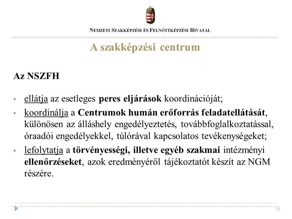 12 A szakképzési centrum Az NSZFH ellátja az esetleges peres eljárások koordinációját; koordinálja a Centrumok humán erőforrás feladatellátását, külön