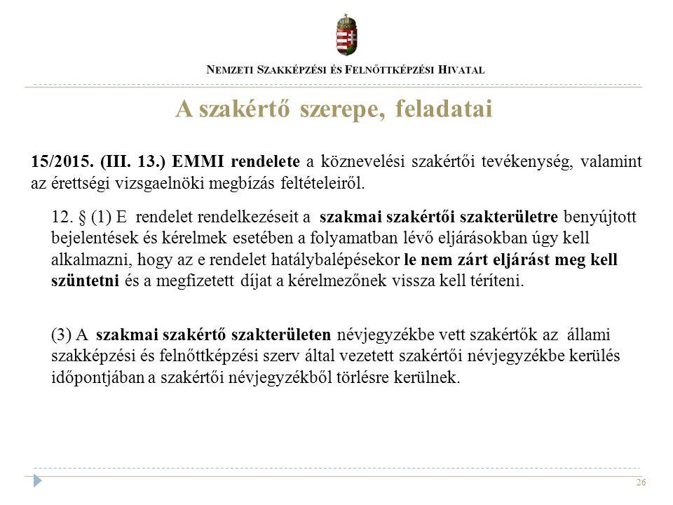 26 15/2015. (III. 13.) EMMI rendelete a köznevelési szakértői tevékenység, valamint az érettségi vizsgaelnöki megbízás feltételeiről. 12. § (1) E rend