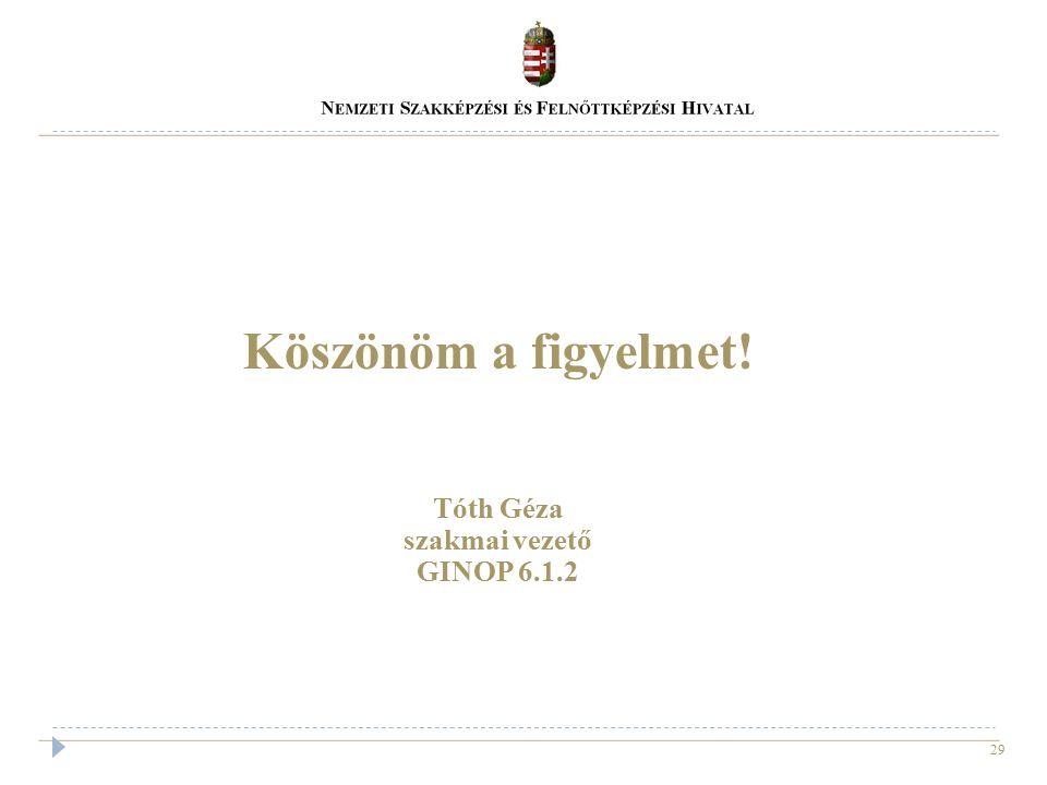 29 Köszönöm a figyelmet! Tóth Géza szakmai vezető GINOP 6.1.2