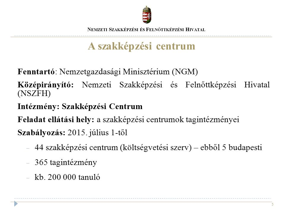 5 A szakképzési centrum Fenntartó: Nemzetgazdasági Minisztérium (NGM) Középirányító: Nemzeti Szakképzési és Felnőttképzési Hivatal (NSZFH) Intézmény: