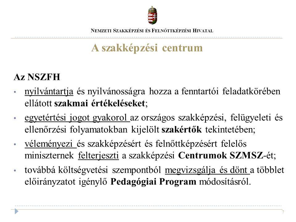 7 A szakképzési centrum Az NSZFH nyilvántartja és nyilvánosságra hozza a fenntartói feladatkörében ellátott szakmai értékeléseket; egyetértési jogot g