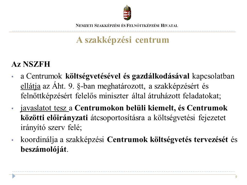 9 A szakképzési centrum Az NSZFH a Centrumok költségvetésével és gazdálkodásával kapcsolatban ellátja az Áht. 9. §-ban meghatározott, a szakképzésért