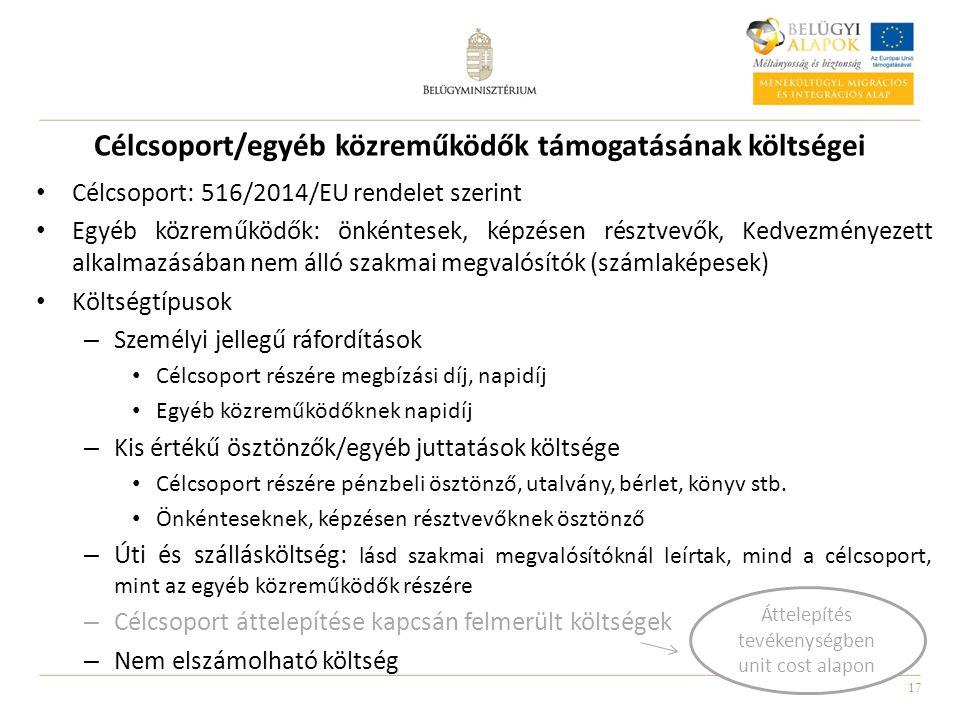17 Célcsoport/egyéb közreműködők támogatásának költségei Célcsoport: 516/2014/EU rendelet szerint Egyéb közreműködők: önkéntesek, képzésen résztvevők,