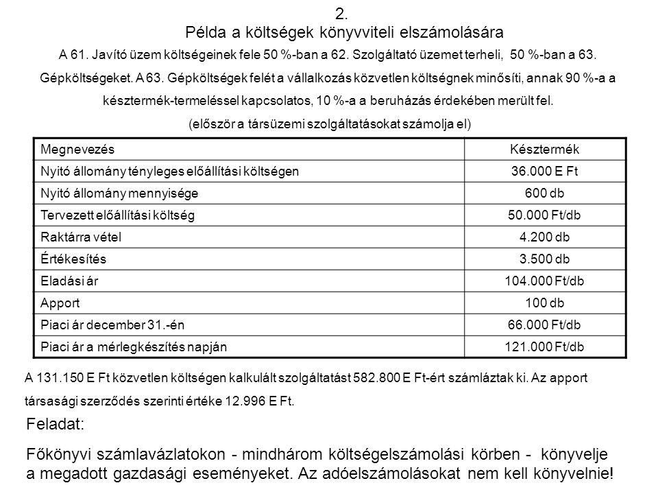 Példa a költségek könyvviteli elszámolására 2. A 61. Javító üzem költségeinek fele 50 %-ban a 62. Szolgáltató üzemet terheli, 50 %-ban a 63. Gépköltsé