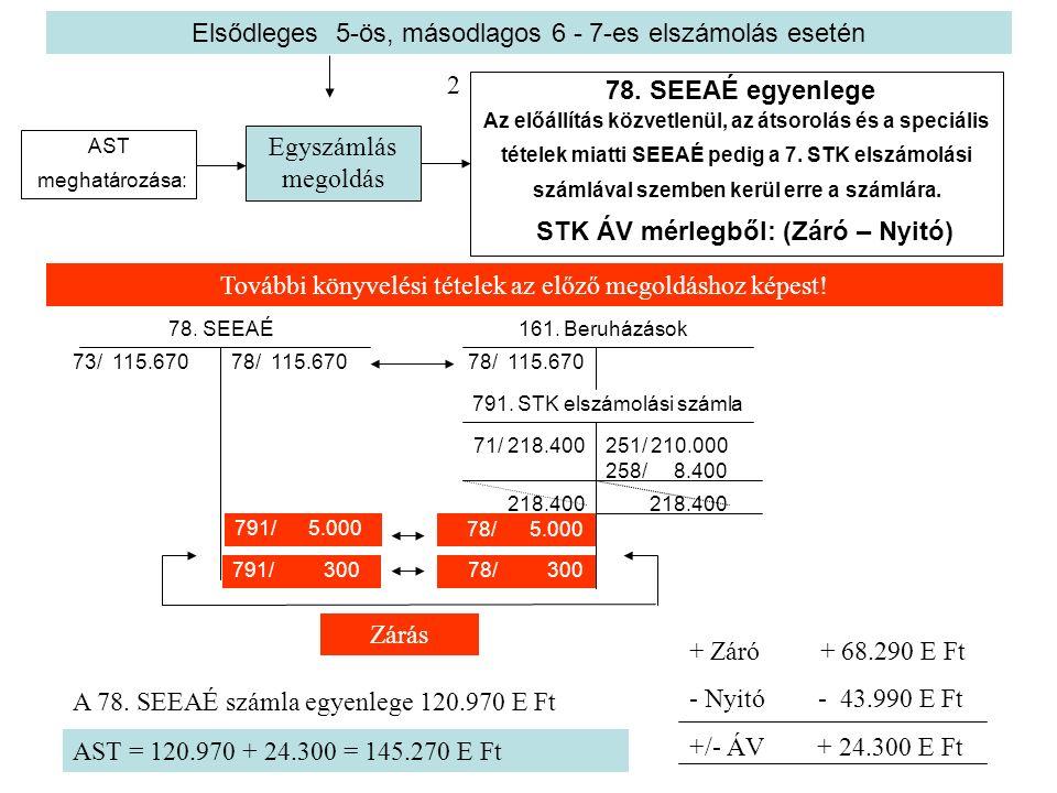 Elsődleges 5-ös, másodlagos 6 - 7-es elszámolás esetén AST meghatározása: 78. SEEAÉ egyenlege Az előállítás közvetlenül, az átsorolás és a speciális t