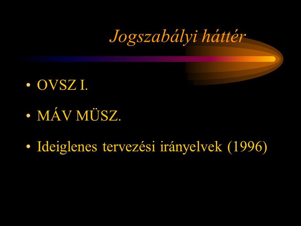 Jogszabályi háttér OVSZ I. MÁV MÜSZ. Ideiglenes tervezési irányelvek (1996) Rétlaki Győző: Emelt sebesség