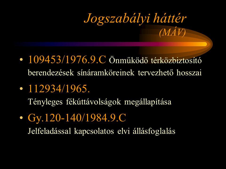 Jogszabályi háttér (MÁV) 109453/1976.9.C Önműködő térközbiztosító berendezések sínáramköreinek tervezhető hosszai 112934/1965. Tényleges fékúttávolság